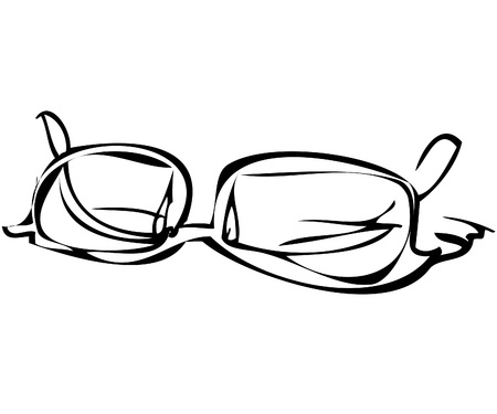 lense: a black and white sketch of glasses