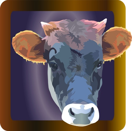 herbivore: cow color image of a pet in a frame Illustration