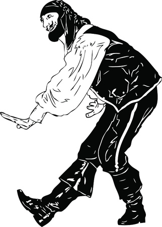 stage costume: black and white picture actor Men tend to bow Illustration