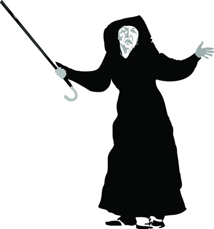 black and white picture an elderly woman with a crutch Vector