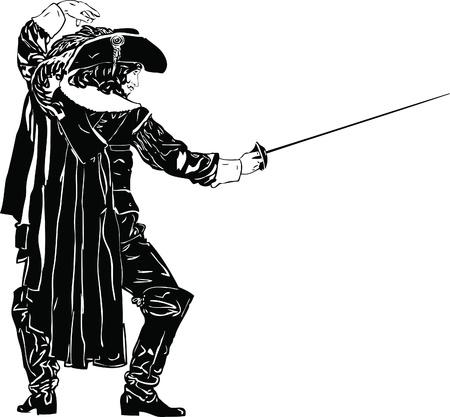 rapier: black and white men in full-length Musketeers Illustration