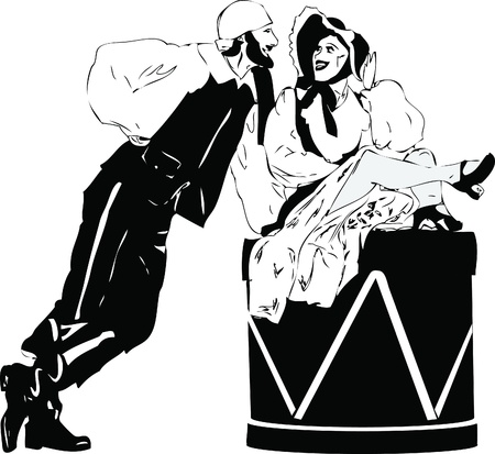 a man with a beard and the lady on the drum Vector