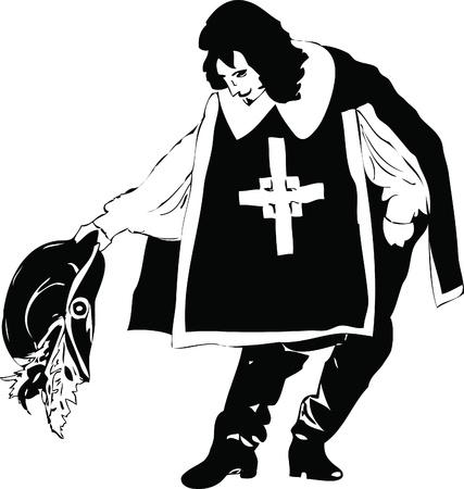 mosquetero: hombres blancos y negro de mosqueteros de larga duración Vectores