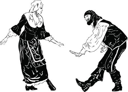 una imagen blanca y negro de hombres y mujeres en un arco Ilustración de vector