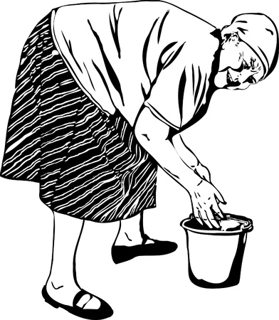 a Grandma washes his hands in a bucket