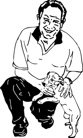black and white men playing with a dog Vector