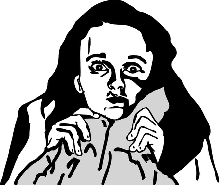 disturbing: black and white sketch of girl with a disturbing sight