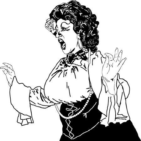 cabaret stage:  black and white drawing of a woman singing actress whiling away Illustration