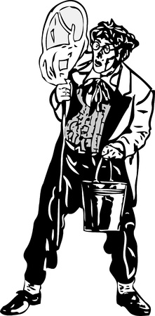 bespectacled man: black and white drawing men seller leeches