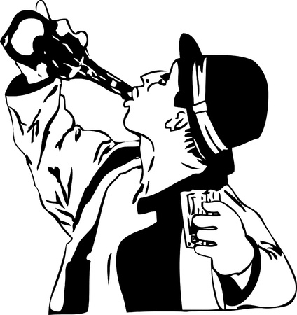black and white drawing men in a hat drinking from a bottle
