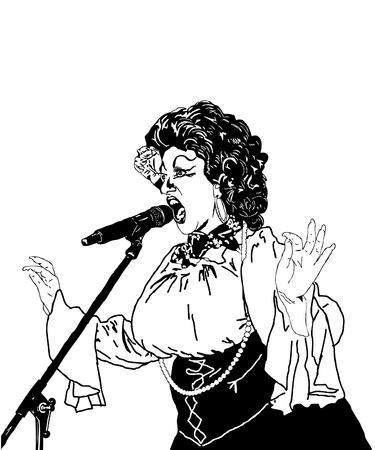 cabaret: noir et blanc chanteur actrice image au micro Illustration