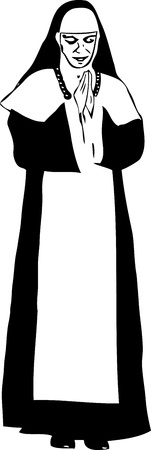 humility: black and white drawing of a woman nun Illustration