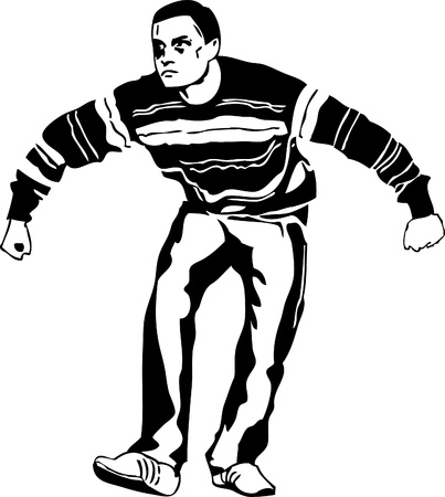black and white drawing of a man who became a pose Vector