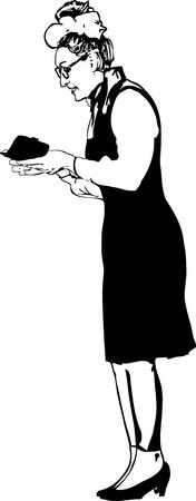 Fille dessin en noir et blanc qui lit un statut Banque d'images - 10012629