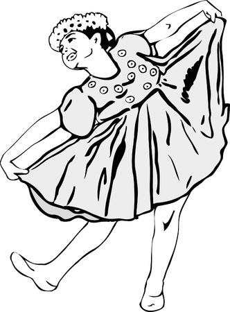 girls having fun: black and white picture Girl dancing in garlands Illustration
