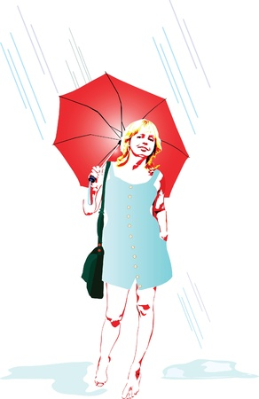 drawing of a woman under a red umbrella Stock Vector - 10012792