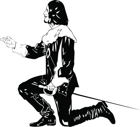 black and white drawing musketeer with sword Vector