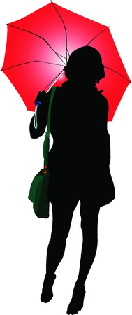 drawing of a woman under a red umbrella Vector