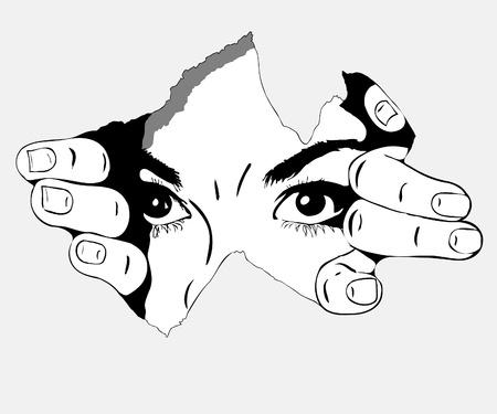 구멍에서 흑백 사진의 여자 눈