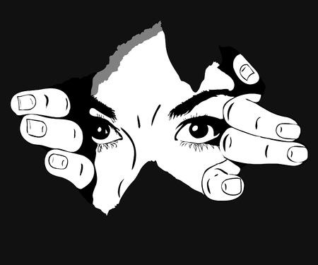 ojos de mujer imagen blanco y negro del orificio Ilustración de vector