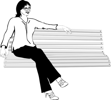 a girl with glasses on the bench Vector