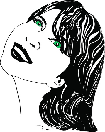 black and white picture girl with green eyes Vector