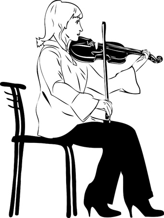 picture blonde violinist playing while sitting on Vector