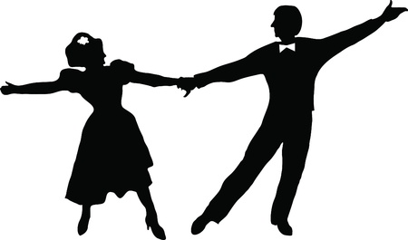 black and white picture contour of the dancing couples Vector