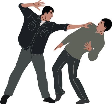 een foto pestkop pijn doet een bescheiden man Vector Illustratie