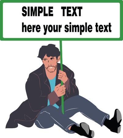 picture man sitting on the floor with a poster in hands Vector