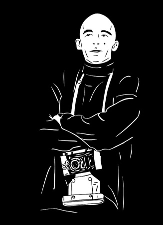 a black and white picture bald photographer Illustration