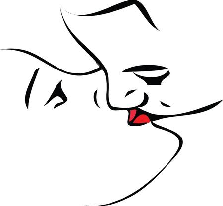 brow: donne e uomini in bianchi e nero sono scommesse quel bacio Vettoriali
