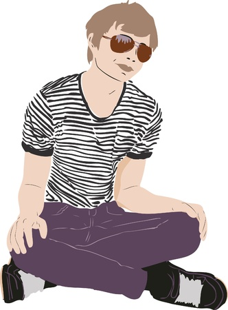striped shirt: color image guy with glasses on the floor
