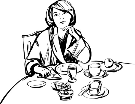image girl in a bathrobe at breakfast table Vector