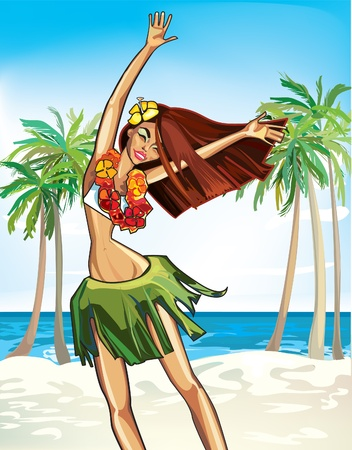brown haired girl: cheerful Hawaiian girl in a wreath of flowers dancing Illustration