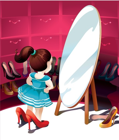 closets:  little girl in the mirror trying on shoes Illustration