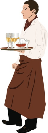 image the waiter keeps glasses filled at hand Vector
