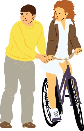 taught: a boy teaches girl to ride a bike