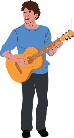 guitar neck: color image the guy in the blue sweater on guitar Illustration