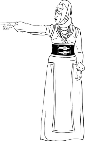 kopftuch: Bild Frau mit Kopftuch und langem Kleid zeigt die Richtung seines Fingers und Schreien Illustration