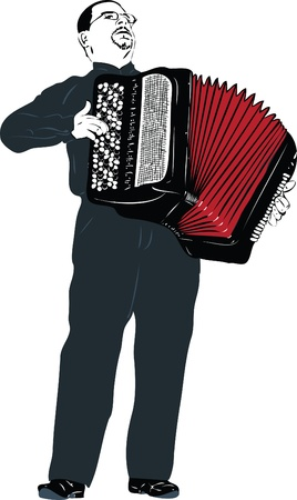 a image male musician playing the accordion