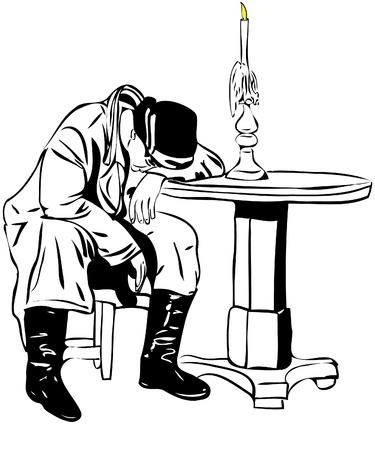 ein Bild Mann schlafend auf dem Tisch Vektorgrafik