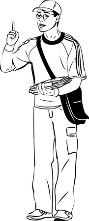 bespectacled guy in a cap and a bag over his shoulder  finger Vector