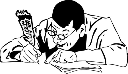image the man in glasses with a feather quill writes a letter Vector