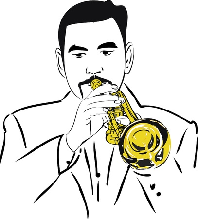 image male musician playing the copper pipe Stock Vector - 10281211