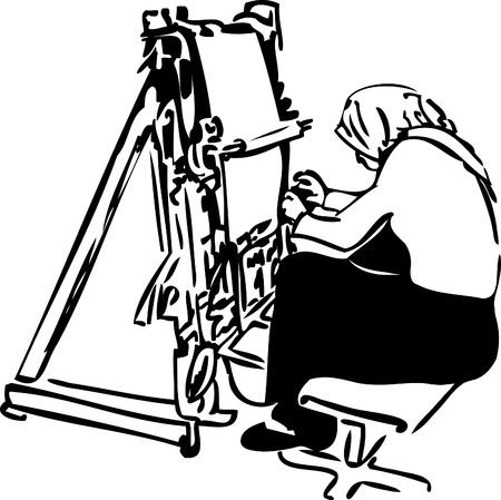 weavers:  image sketch of women weavers at the loom