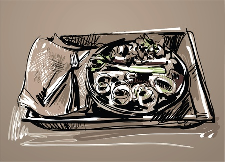 threw: Image dishes filled with food for lunch Illustration