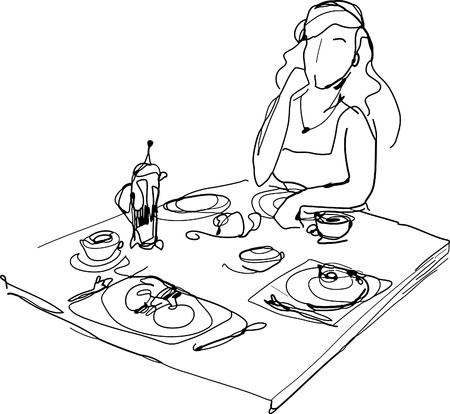 black and white picture woman at the table Vector