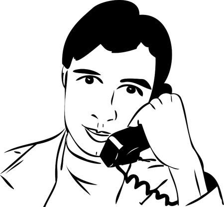 a sketch of a guy talking on the phone