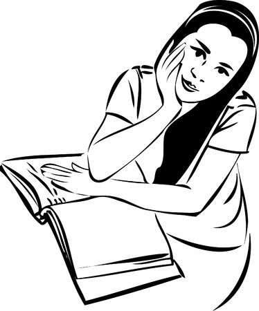 sketch of a girl at a table in a book Vector